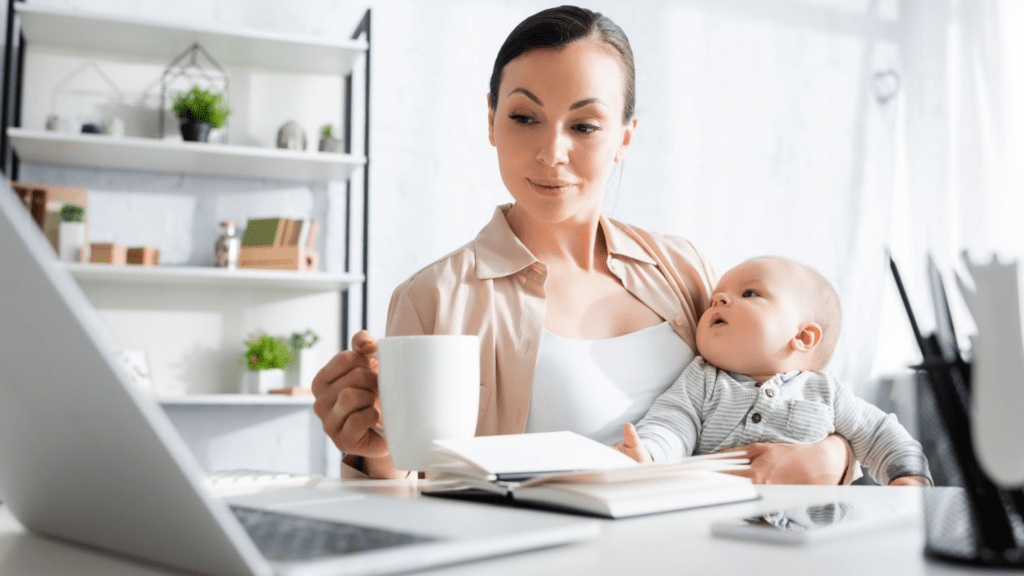 Picture of a woman with a toddler working from home